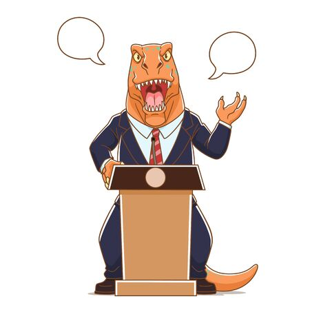 Cartoon illustration of Dinosaur wearing suits talking on podium.