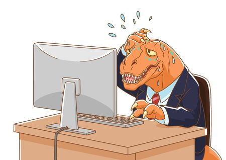 Cartoon illustration of Dinosaur wearing suit working with computer. Illustration