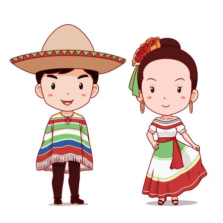 Cute couple of cartoon characters in Mexican traditional costume.