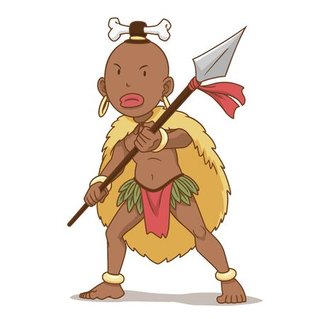 Cartoon character of Africa indigenous man holding spear. Illustration