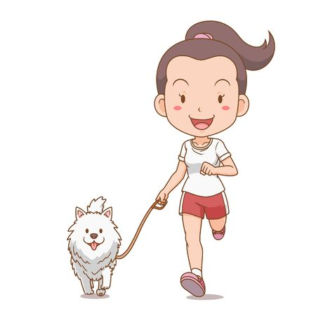Cartoon character of girl running with Pomeranian dog.