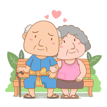 Cartoon illustration of grandparents in love sitting on garden bench. National grandparents' day.
