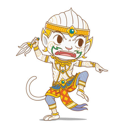 Cartoon character of Hanuman, king monkey character in Thailand's Rammakian epic.