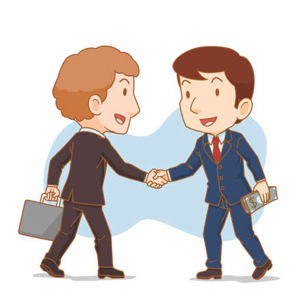 Cartoon illustration of two businessman shaking hands. Business partners. Standard-Bild - 153602394