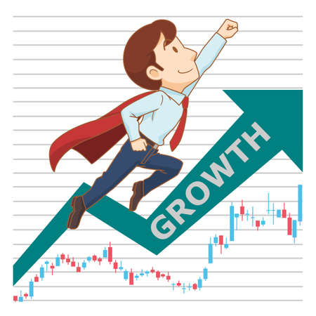 Cartoon illustration of businessman flying up with growth stock chart background.