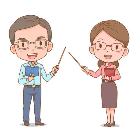 Cute couple cartoon of teachers. Illustration