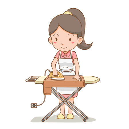 Cartoon character of housewife ironing the clothes on ironing board. Standard-Bild - 156224377