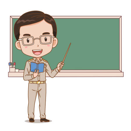 Cartoon illustration of Thai male teacher holding a stick in front of blackboard. Illustration