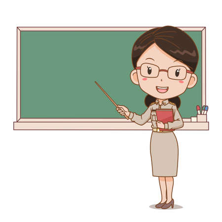 Cartoon illustration of Thai female teacher holding a stick in front of blackboard.