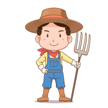 Cartoon character of farmer holding rake.