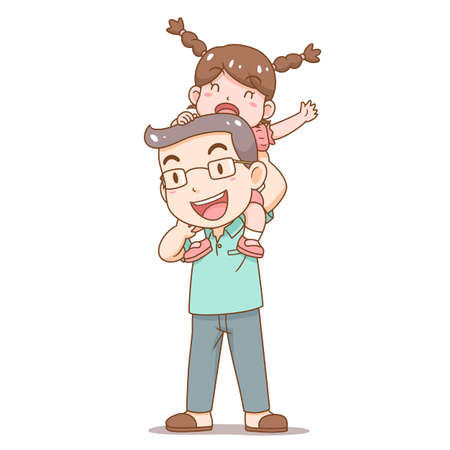 Cartoon illustration of Father's Day. Father carrying Daughter on his shoulders. Illustration