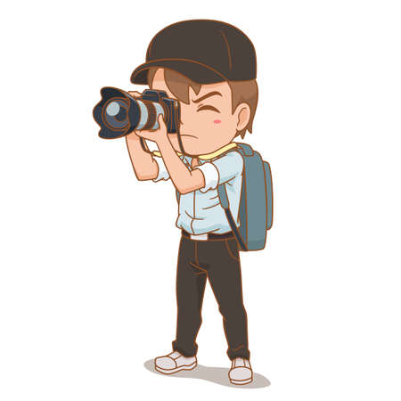 Cartoon character of photographer.