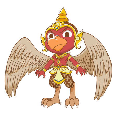 Cartoon character of red Garuda. Illustration