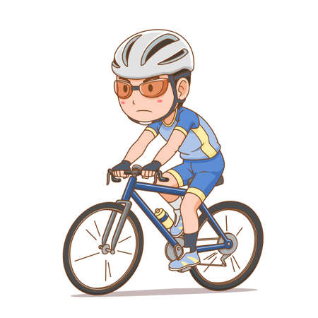 Cartoon character of cyclist boy. Standard-Bild - 161457607
