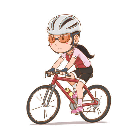 Cartoon character of cyclist girl.