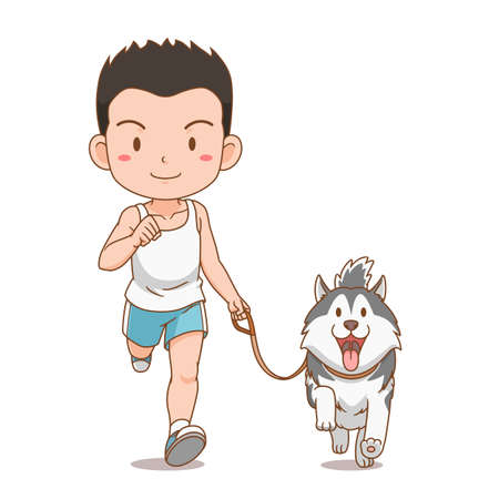 Cartoon character of boy running with Siberian Husky dog. Illustration