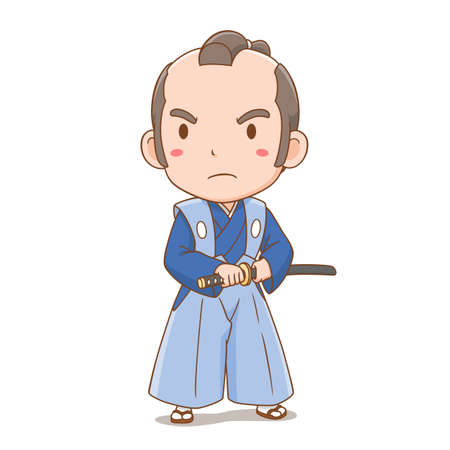 Cartoon character of cute Japanese samurai boy.