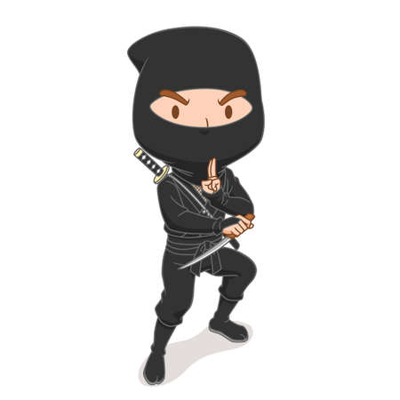 Cartoon character of Japanese ninja warrior.