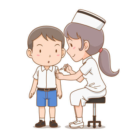 Cartoon illustration of nurse giving an injection to student boy.