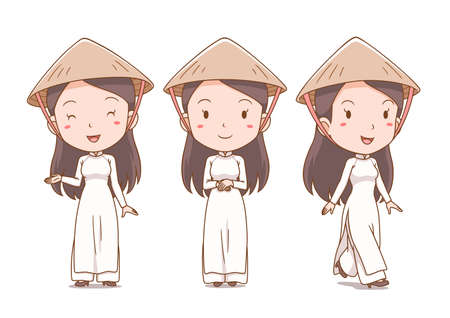 Set of cartoon Vietnamese girl in traditional costume.
