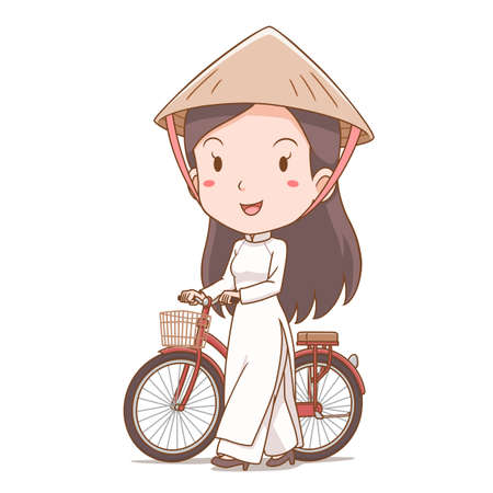 Cartoon character of Vietnamese girl in traditional costume walking with bicycle. Illustration