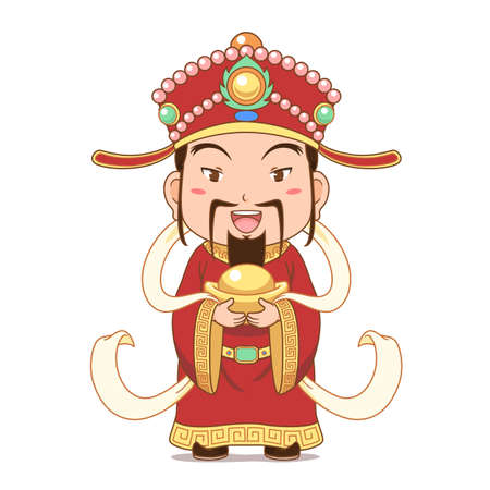 Cartoon character of God of Wealth holding gold ingot for Chinese new year celebration. Illustration