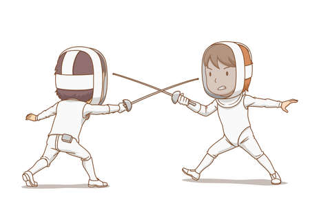 Cartoon illustration of fencing athletes. Illustration