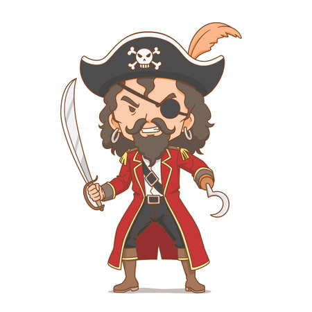 Cartoon character of pirate holding sword. Illustration