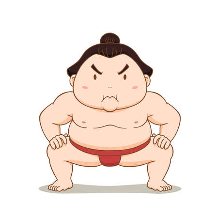 Cartoon character of Sumo wrestler.