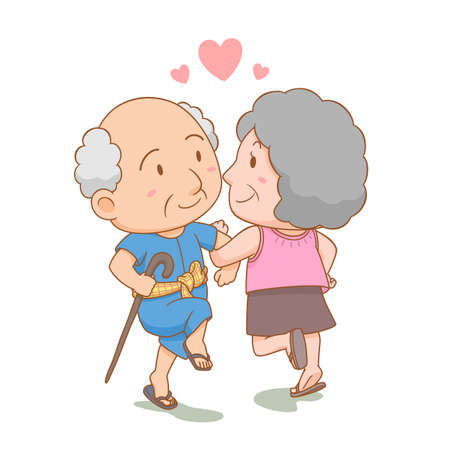 Cartoon illustration of grandparents dancing together with love. National grandparents' day.