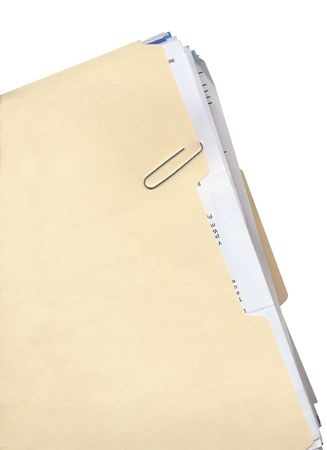 unorganized: Manila folder, paper clip, and stack of papers Stock Photo