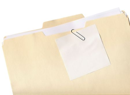 Manila folder and paper clipped note isolated on white photo