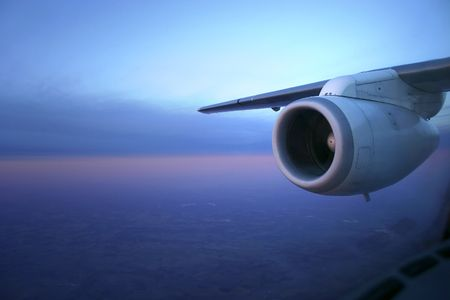 aeronautical: Photo showing jet engine in early morning light