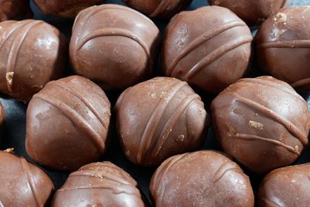 chocolate balls: Close-up of chocolate balls Stock Photo