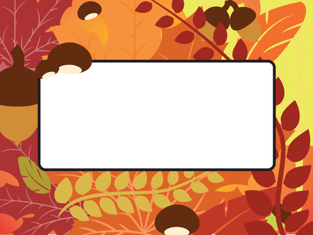 chestnut: Fall leaves, acorn and chestnut frame with blank space background.