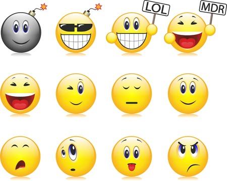 expresiones faciales: sonrisas, emociones, expresiones faciales Vectores