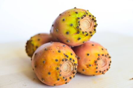 Prickly pears on a cutting board Stock Photo