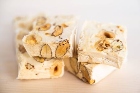 Pieces of soft nougat