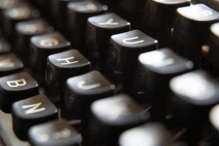 Old typewriter keyboard close up view