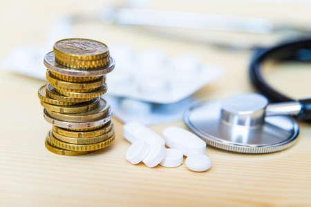 Medicine, stethoscope and money; health expenses