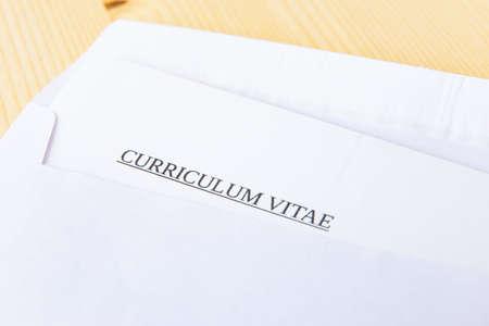 Envelope containing a curriculum vitae; sending and receiving a curriculum vitae