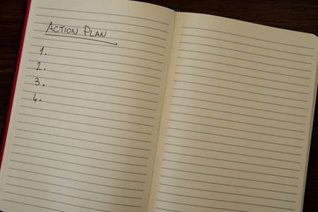 Lined notebook page with the words