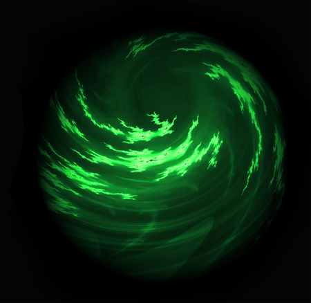 Bright Glowing Cloudy Swirling Green Planet Orb Stock Photo