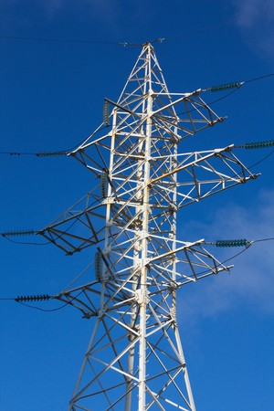 High-voltage column with wires against the dark blue sky Stock Photo - 7520746