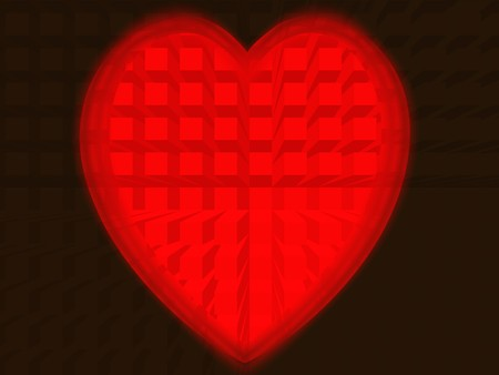 Red heart from squares on colour background Stock Photo - 7520765