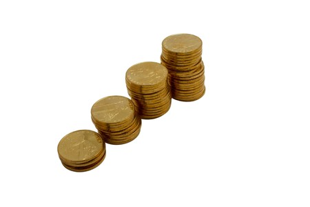 Absent-minded yellow coins on a white background photo