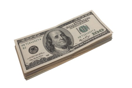 Pack of 100 dollar denominations photographed on a white background Фото со стока