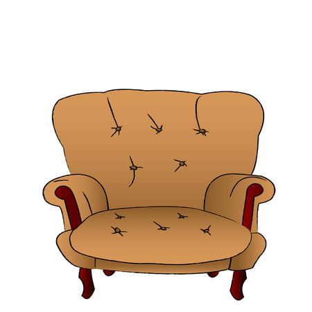 The leather brown armchair is isolated on a white background Vector