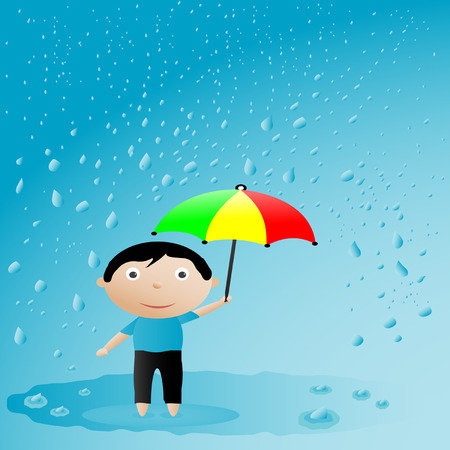 illustration of the teenager with an umbrella