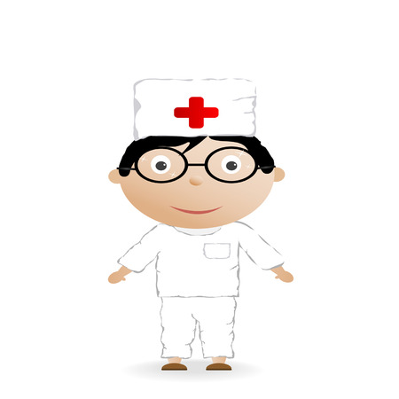 The boy in the medical form  on a white background Vector